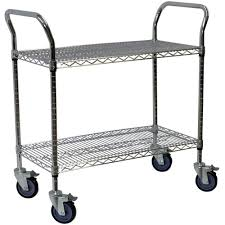 Wire Shelf Cart Storage Concepts 2 Shelf Steel Wire Service Cart In Chrome 39 In