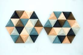 unique wood wall wood wall geometric hexagon set of 2 mid century wall