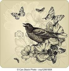 vintage background with birds roses and butterflies vector