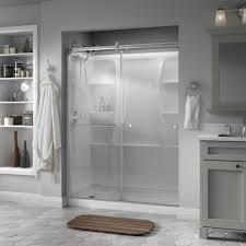 glass shower door towel bar replacement delta portman 60 in x 71 in semi frameless contemporary sliding