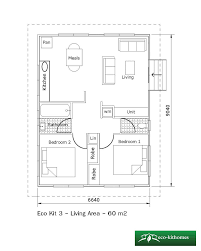 granny flat floor plans 2 bedrooms two bedroom 60m2 eco kithomes
