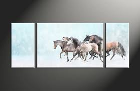 Animal Print Home Decor by 3 Piece Animal Wildlife Horse Snow Blue Canvas Art Prints