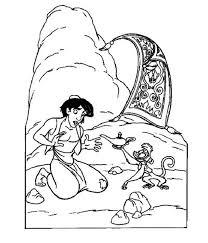 abu aladdin magic oil lamp disney movie coloring pages