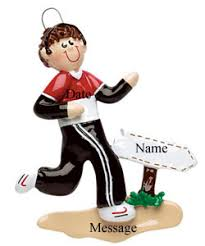 buy cross country runner boy with sign ornament personalized