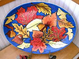 personalized ceramic platters custom ceramic autumn falling leaves bowl platter handmade