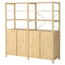 ivar 2 section shelving unit w cabinet 68 1 2x11 3 4x70 1 2