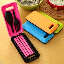 separable travel portable folding spoon fork chopsticks plastic