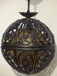 Iron Pendant Light Vintage Globe Pendant Light Retro Amber Glass Gothic Spanish Iron