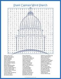 50 States Map With Capitals by State Capitals Word Search Puzze Word Search Students And Learning