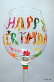 wine birthday colourful happy birthday painted wine glass faalaa glass