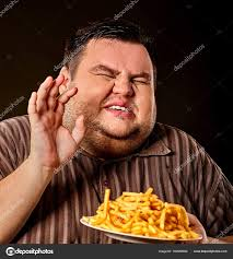 fat man eating fast food french fries for overweight person