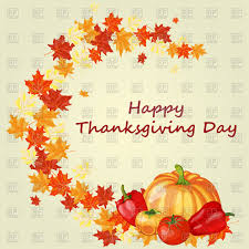 thanksgiving day background with maple leaves vector clipart image