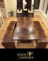 Walnut Slab Table by Black Walnut Slab Table And Waterfall Benches Logo Jewell Hardwoods