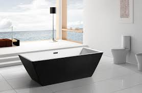 rectangle black acrylic freestanding soaking tub on white ceramic