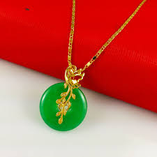 jade with gold necklace images Wholesale super deal new arrival fashion jewelry cupid pendant jpg