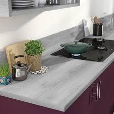 cuisine effet bois plan de travail stratifié effet bois argent mat l 315 x p 65 cm