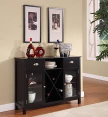 attractive buffet table with wine rack