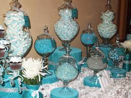 Tiffany Blue Candy Buffet by Candy Buffet Station Sweet Servings Candy Stations So Cute