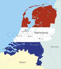 netherlands map flag abstract vector color map of netherlands country coloured by