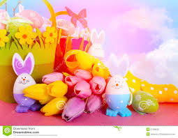 easter egg hunt baskets happy easter egg hunt baskets with bunny eggs stock photo image