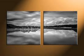 2 piece canvas black and white ocean decor