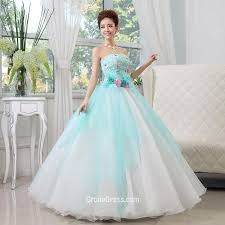 aqua quince dresses strapless flowers gown aqua blue layered tulle quinceanera