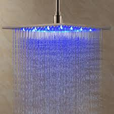 rain fall shower head with led light for cute bathroom idea