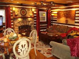 Log Cabin Interior Doors Appealing Log Cabin Interior Wall Covering Using Canvas Oil