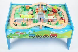 wooden train set table 52 train sets for kids with table aero city train table set