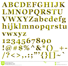 symbols pleasing golden alphabetical letters numbers and symbols