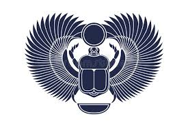 beetle scarab with wings sun and a crescent moon ancient