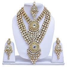 big necklace sets images Lucky jewellery white big stone wedding engagement necklace set jpg
