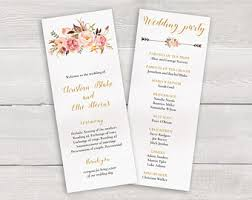 wedding ceremony programs template wedding program template etsy
