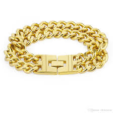 man hand bracelet images Heavy large big long double hand chain hiphop bracelet gold color jpg