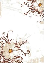 white flowers at diagonal corners with brown ornaments