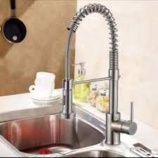brushed nickel finished brass spring kitchen faucet pull out