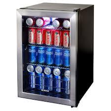 beverage cooler with glass door whynter 17 in 120 12 oz bottle beverage refrigerator in black
