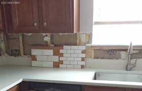 Kitchen Without Backsplash Duo Ventures Kitchen Makeover Subway Tile Backsplash Installation