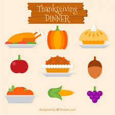 delicious thanksgiving dinner in flat design vector free