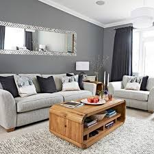shabby chic grey living room with rectangular wall mirror and