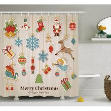christmas shower curtain xmas winter holiday themed icons