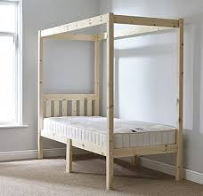single 3ft four poster bed frame solid natural pine 4 poster bed