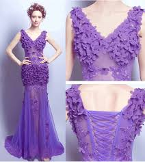 handmade prom dress purple floral lace wedding gowns designer