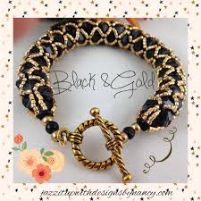 crystal gold bracelet images Bracelet bangle beaded net black swarovski crystal gold metallic jpg