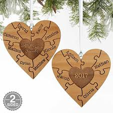personalized family ornament 2 sided wooden