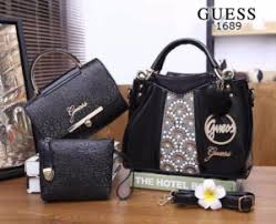 Tas Guess Speedy tas guess maxmara glossy leather 3in1 hitam semi ori 1689 grosir