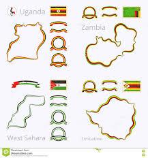 Uganda Flag Colours Colors Of Uganda Zambia Western Sahara And Zimbabwe Stock Vector