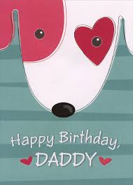 dog face with red heart around eye daddy birthday card by