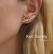 name plate earrings nameplate earrings in solid gold or sterling silver order