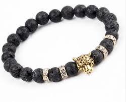 black bracelet with gold images Lovelymusthaves cool lion panter lava black bracelet for men jpg